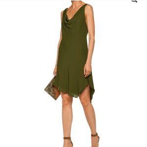 NWT Haute Hippie Military Green Silk Slip Dress 10